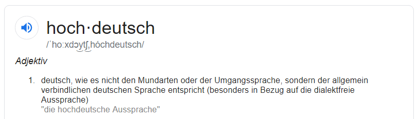 screenshot google search for Hochdeutsch