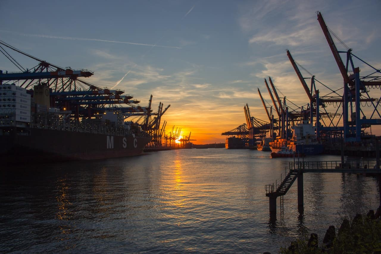 Hamburg port sunset